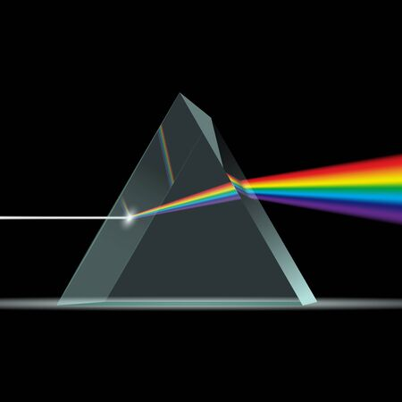 Prism light spectrum realistic composition with rainbow ray of light coming through 3d trangle shaped prism. Ray rainbow spectrum dispersion optical effect in glass prism. Prism and light rays.