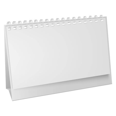 White blank paper desk spiral calendar. Vertical realistic paper calendar blank. Blank desktop calendar isolated on white background. 矢量图像