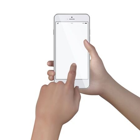 Female hands hold smartphone with blank screen realistic vector on white background. Hands young woman holding modern phone with finger on clean touch screen. Female hand holding black cellphone.