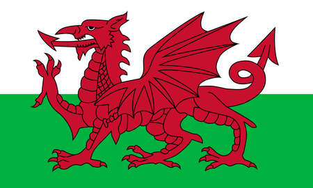 Wales flag, red dragon on the white and green. National flag of wales official colors and the aspect ratio of 3 5 Ilustrace