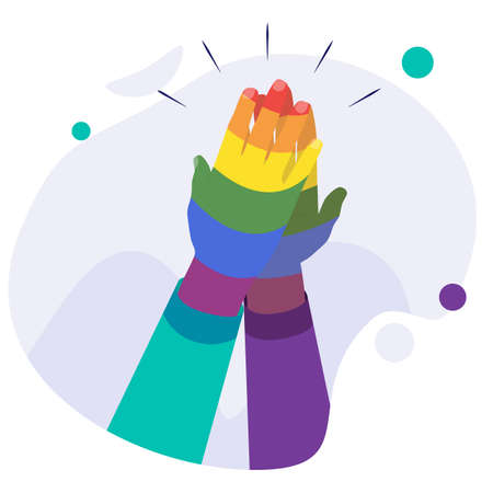 Zero discrimination day composition with image of rainbow colored human hand vector illustration. Hands with gay and rainbow colors. Vector illustration of hand as zero discrimination day concept.
