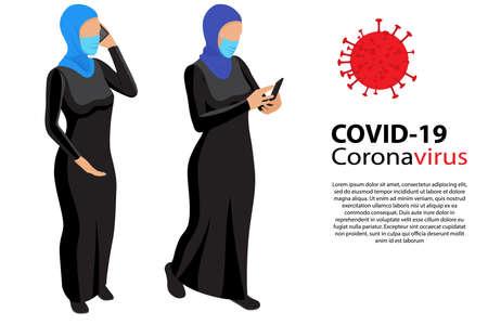 Muslim Women wearing face mask protective for spreading of disease virus. Group muslim women wearing medical masks to prevent disease. Muslim Women isometric in protective medical face masks.