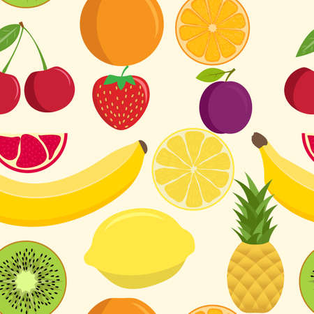 Cute fruit mix seamless pattern. Seamless background with various tropical fruits. Seamless pattern of fruits. Pineapple orange cherry banana lemon pomegranate plum kiwi strawberry lemon