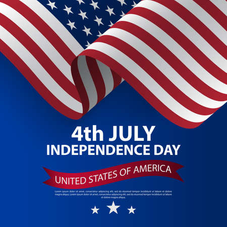 Happy 4th of July USA Independence Day with waving american national flag. Fourth of July Independence Day. Vector illustration. United States waving national flag