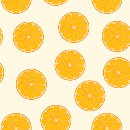 Cute orange fruits seamless pattern. Seamless background with orange fruits. Vector seamless pattern of fruits
