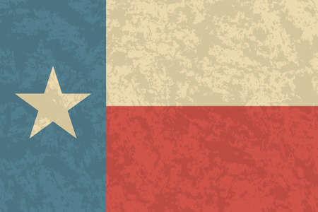 Texan flag with a vintage and old look. Lone star state flag. Texas grunge flag with a texture. Symbol of the independent spirit of the state of Texas.