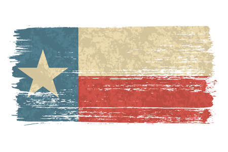 Texan flag with a vintage and old look. Lone star state flag. Texas grunge flag with a texture. Symbol of the independent spirit of the state of Texas. 矢量图像