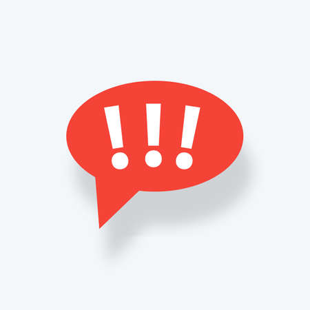 Speech bubble with exclamation mark. Exclamation mark. Hazard warning symbol. Flat design style. Red attention sign icon.