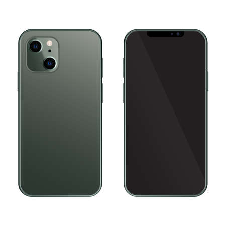 Realistic smartphone mockup with front and back. High quality realistic trendy no frame smartphone with blank screen. Mobile smart phone mock up