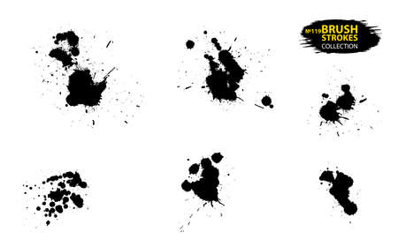 Ink drops and splashes. Artistic dirty grunge abstract spot vector set. Set of black splash on white background. Grunge ink blots and drops. Grunge ink splotches. Vector set of brush stroke