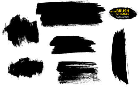 Set of vector brush strokes. Set of black paint, ink, grunge, dirty brush strokes. Dirty artistic design element. Set of four black grunge banners for your design. Vector paintbrush set.
