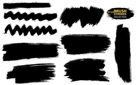 Set of vector brush strokes. Set of black paint, ink, grunge, dirty brush strokes. Dirty artistic design element. Set of four black grunge banners for your design. Vector paintbrush set 矢量图像