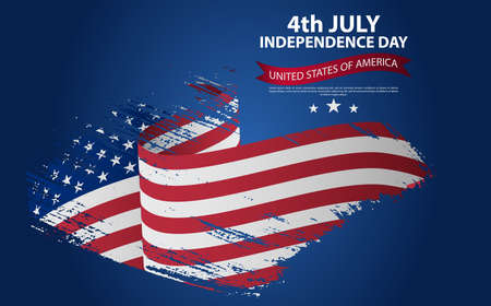 Happy Independence Day greeting card with brush stroke background in United States national flag colors. Happy 4th of July. Happy USA Independence Day. Vector abstract grunge background