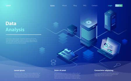 Data analysis concept. Data Analysis for website, mobile website. Big data flow processing concept, cloud database, web hosting, server room. Cloud storage, digital service app with data transfering.