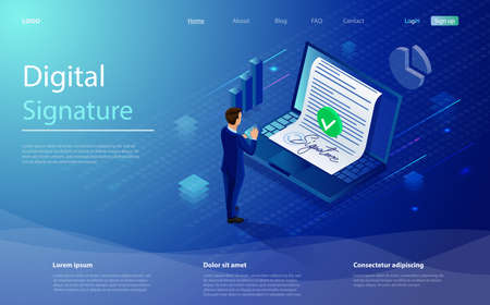 Digital signature, businessman sign on smartphone. Smart contract concept. Isometric electronic signature concept. Businessman putting electronic signature on document. E-sign consent agreement