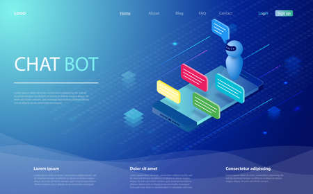 Chatbot isometric vector illustration. Chat bot and future marketing. AI and business IOT concept. Chat bot receiving client messages. Dialog sms icons or text bubbles on screens. Mobile app design