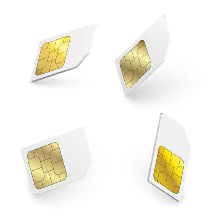 Mobile Cellular Phone Sim Card Chip Isolated on Background. Sim card object realistic icon. Sim card mobile phone icon chip.
