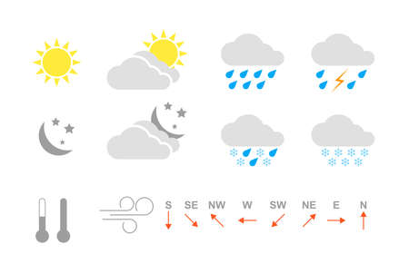 Weather icons kit. Icon set for application, widget or web site for weather forecasting. Weather icon on white background