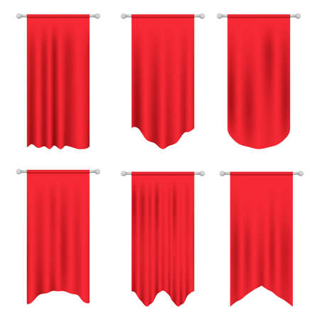 Signal red long sport advertising pennants banners samples on pole stand support pedestal. Red Pennant Template. Empty 3D Pennant template. Blank flag 免版税图像