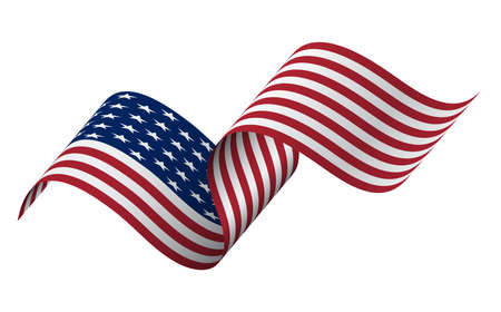 waving flag of the United States of America. illustration of wavy American Flag for Independence Day. American flag on white background 免版税图像