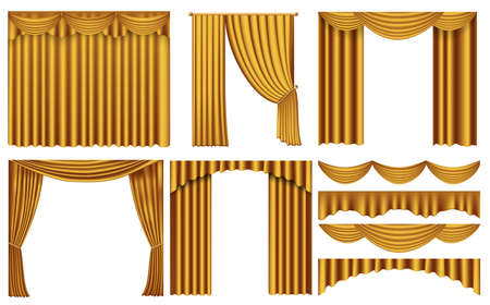 Golden curtains drapery realistic. Golden curtains for theater stage or cinema. Luxury decoration elements for opera or comedy show interior. luxury curtains gold fabric isolated on white background