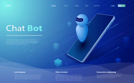 Isometric artificial intelligence. Chat bot and future marketing. AI and business IOT concept. AI and business IOT concept. Isometric artificial intelligence. Help service. Vector illustration