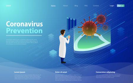 Flu or coronavirus laboratory. Medical covid lab or antivirus vaccine research. Coronavirus prevention or virus vaccination in isometric vector design. Virus vaccination in isometric vector design