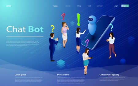 Mans and women chatting with chatbot application. Isometric artificial intelligence. AI and business IOT concept. Mans and women chatting with chatbot application.