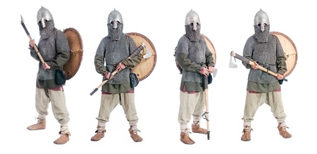 hauberk: body portrait of  medieval soldier with helmet, hauberk, shield and axe, isolated on white background