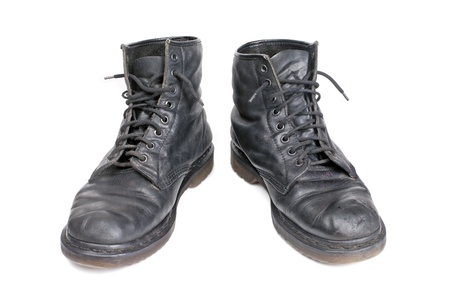 pair of old  boots. isolated on white background Stock Photo - 10763745