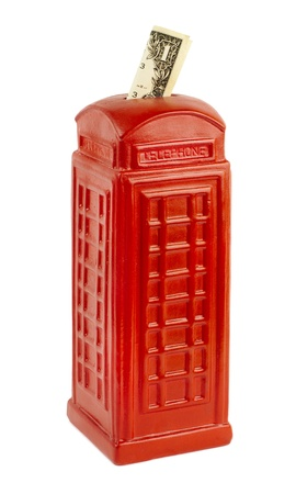 enclosing: red moneybox with dollar isolatet on a white background