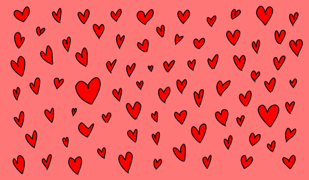 Red heart drawings on reddish background, Vector