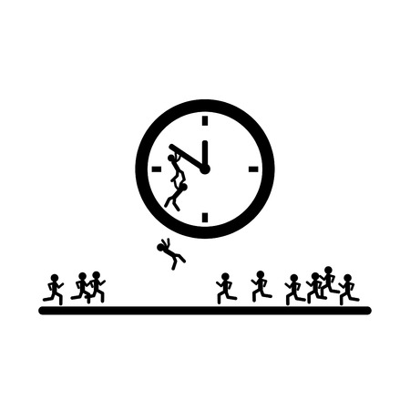 Many people trying stop the time - Vector