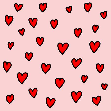 Red heart shape on pink background vector.