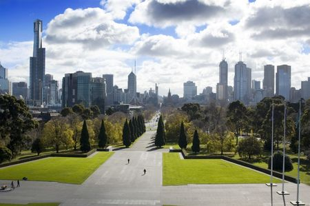 rural skyline: Melbourne, Australia Stock Photo
