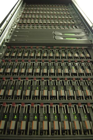 A close-up of a modern disk array for file storage. Stock Photo - 1150866