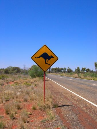 Desert sign indicating the presence of Kangaroos in the Australian outback desert. Stock Photo
