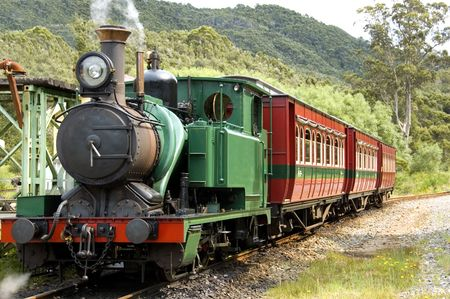 A pioneer steam train in the wilderness