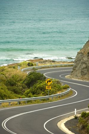 A windy stretch of the Great Ocean Road, Gods gift to recreational drivers.