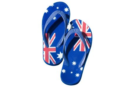 thongs: A pair of thongs decorated with the Australian flag and isolated on white.