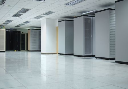 Interior of a data center where servers and computers are securely hosted