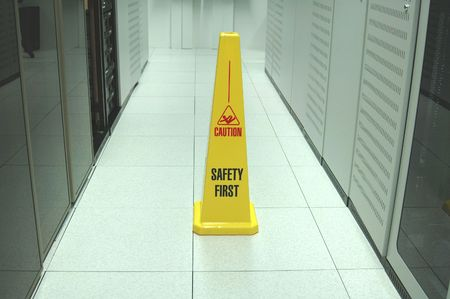 safety first: Safety zone marker in a computer data center aisle