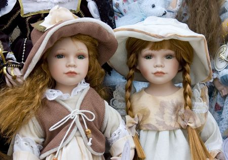 Two pretty dolls on display