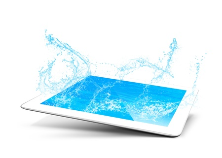 moisten: tablet pool water