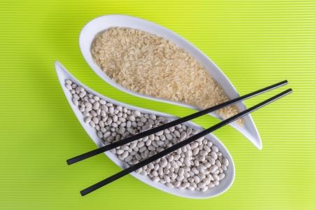 food bowl chopsticks beans rice diet style photo