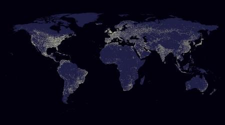 población: mapa del mundo de fondo azul abstracto iluminación de luz