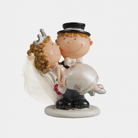 spouses: statue wedding funny cake decorated ornament figure Stock Photo