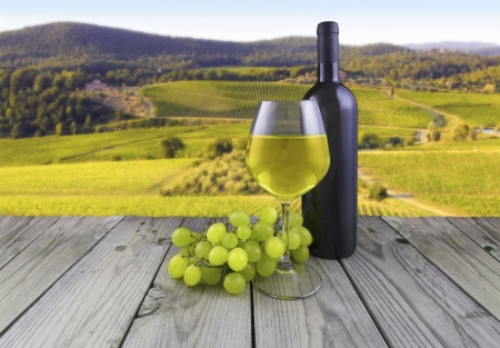 image of a landscape with white wine glass bottle grape vineyard wood