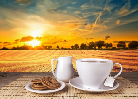Tea in white cup ceramic old wooden table with view landscape Standard-Bild