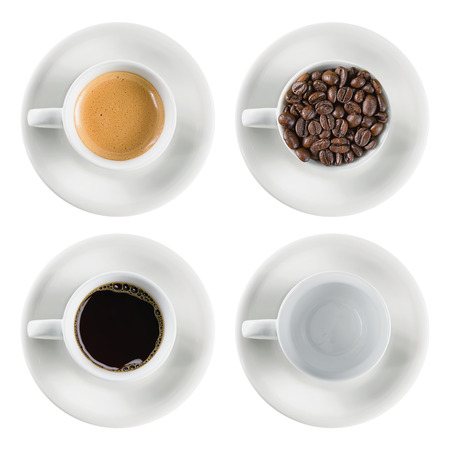 Top view close-up coffee cup set isolated